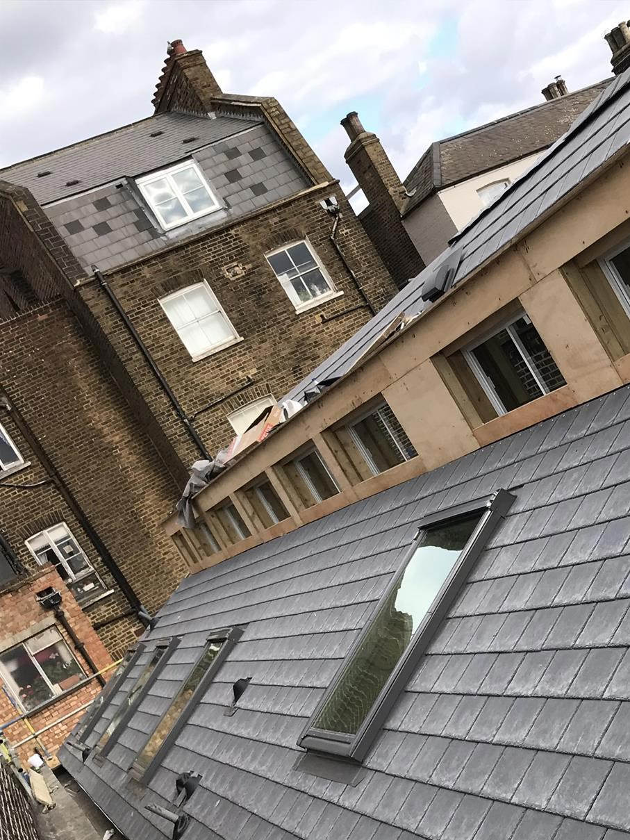 Roof shot of London Secondary Glazing at the Hurley Apartments Kentish Town